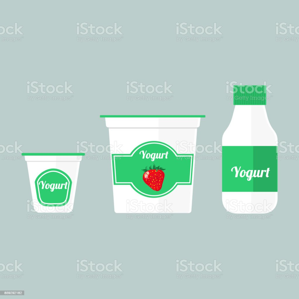 Colorful illustration of packaging yogurt