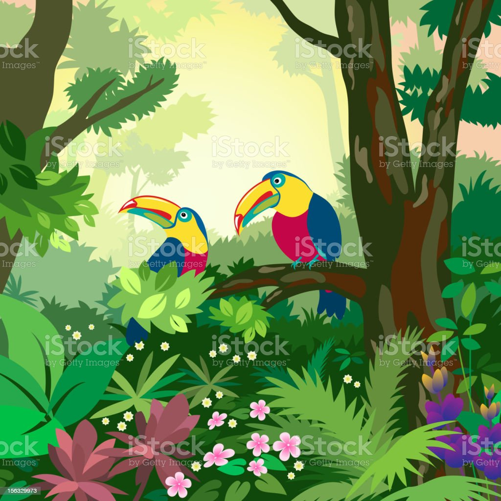 Colorful illustration of two toucans in the forest