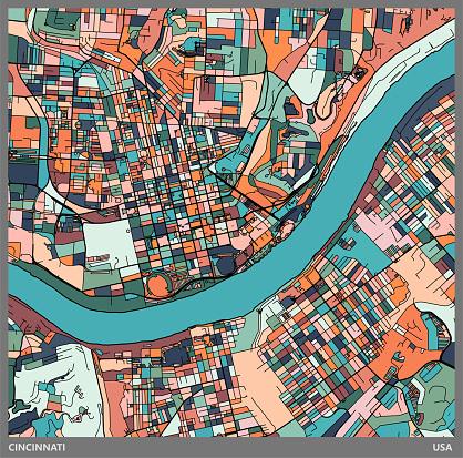 colorful Illustration style city map,Cincinnati city,USA