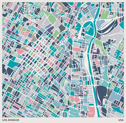 colorful Illustration style city map,near Union Station,Los angeles city,USA