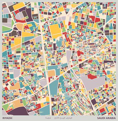 colorful Illustration style city map,Riyadh city,Saudi Arabia