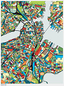 colorful illustration style map of Boston city