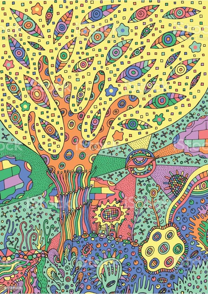 Ilustración de Ilustración Colorido Paisaje Surrealista árbol Flor Y ...