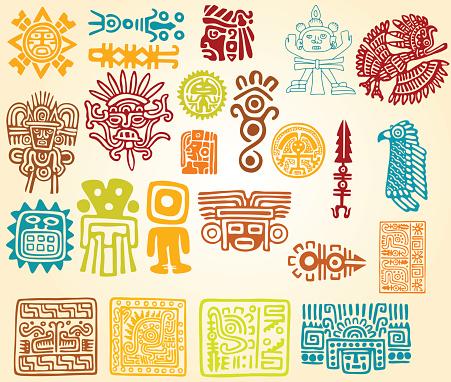 Colorful illustrations of Mayan line symbols