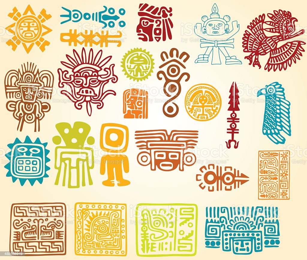 Colorful illustrations of Mayan line symbols vector art illustration