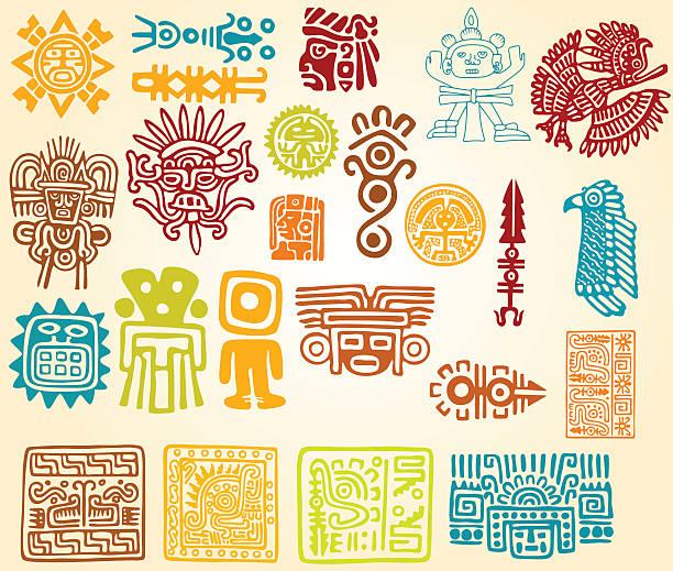 Colorful illustrations of Mayan line symbols vector art illustration