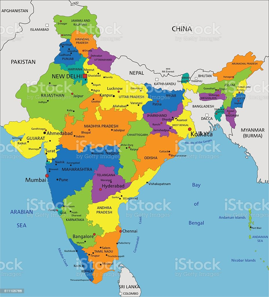 Colorful India Political Map With Clearly Labeled Layers Stock ...