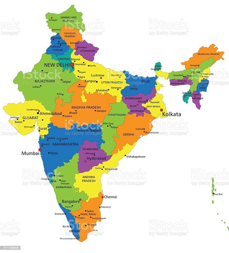 Colorful India Political Map With Clearly Labeled Layers ...