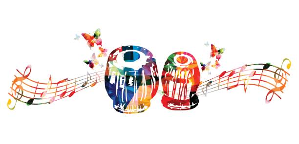 Colorful indian tabla with music notes and butterflies Colorful indian tabla with music notes and butterflies isolated. Music instrument background vector illustration. Design for poster, brochure, invitation, banner, flyer, concert and music festival tavla stock illustrations