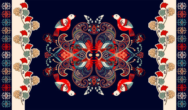 Colorful indian vector design for rug, towel, carpet, textile, fabric, cover. Bright floral stylized decorative motifs. Rectangular ethnic floral design with ornamental center. Birds and flowers Colorful vector design for rug, towel, carpet, textile, fabric, cover. Bright floral stylized decorative motifs. Rectangular ethnic floral design with ornamental center romania stock illustrations