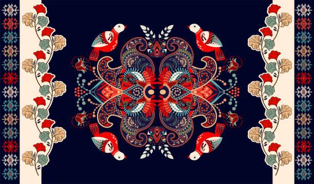 stockillustraties, clipart, cartoons en iconen met kleurrijke indiase vector ontwerp voor tapijt, handdoek, tapijt, textiel, stof, te dekken. heldere florale gestileerde decoratieve motieven. rechthoekige etnische floral design met sier centrum. vogels en bloemen - batik