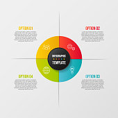 Colorful infograph with business symbols. Vector