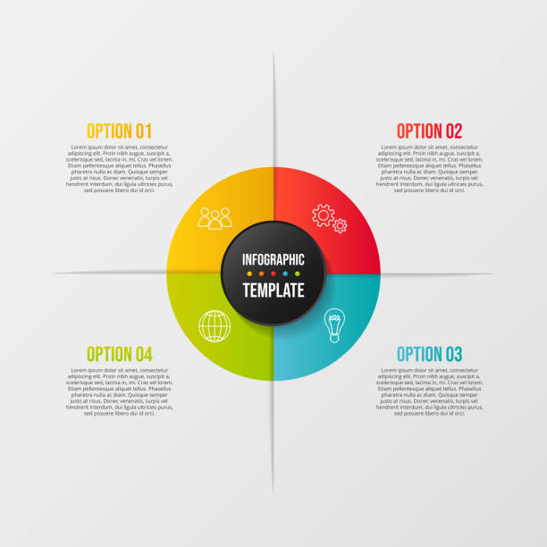 colorful infograph with business symbols. vector - klawisz option stock illustrations