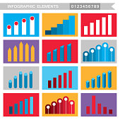 Colorful infographic elements charts, graph diagram. Vector illustration