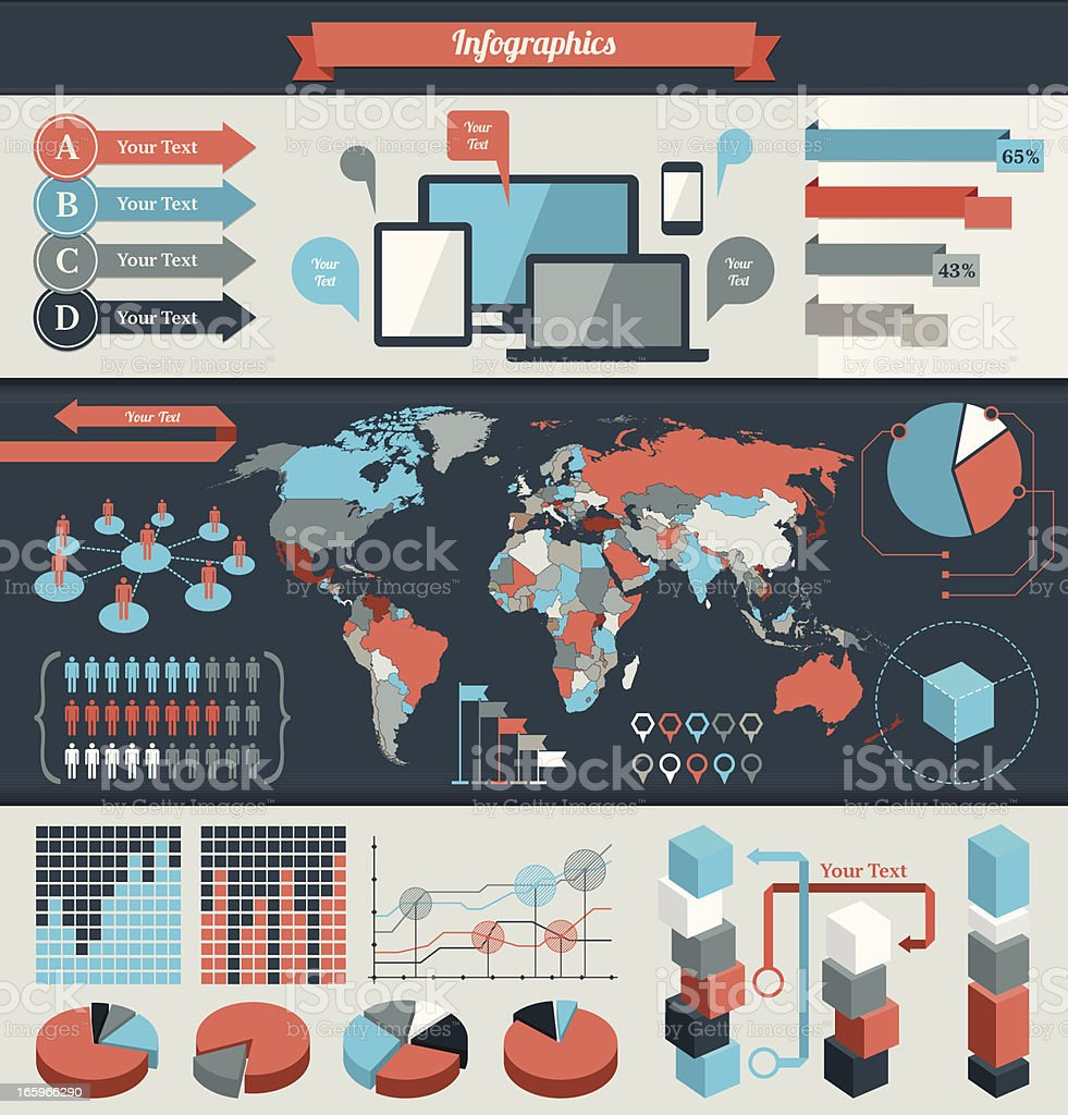 Colorful infographic elements for global data royalty-free stock vector art