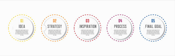 Colorful infographic in five steps 5 options with room for text in different colors. Vector infographic with five steps for successful business (with lorem ipsum template). five people stock illustrations