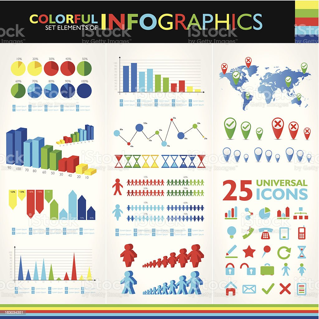 Colorful infographic set and 25 universal icons royalty-free stock vector art
