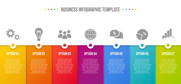 colorful infographic with business icons. vector - klawisz option stock illustrations