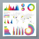 Set of modern infographics vector design elements on white page with gray background. Vector illustration with transparency in EPS'10.