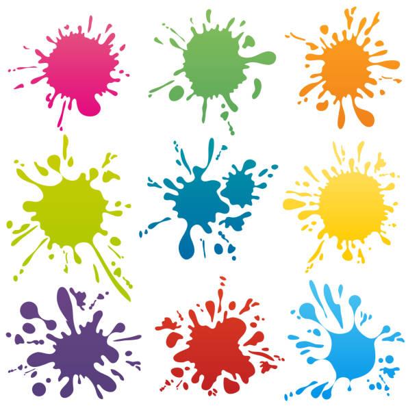 ilustrações, clipart, desenhos animados e ícones de conjunto de vetor de tinta colorida pontos - tinta equipamento de arte e artesanato