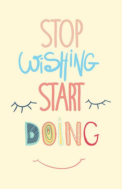stockillustraties, clipart, cartoons en iconen met colorful inspirational motivational poster, quote. stop dreaming start doing - fresh start yellow