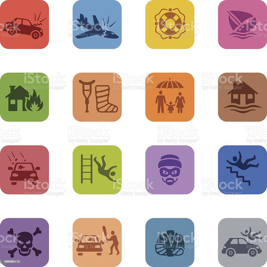 Colorful Insurance Icon Set vector art illustration