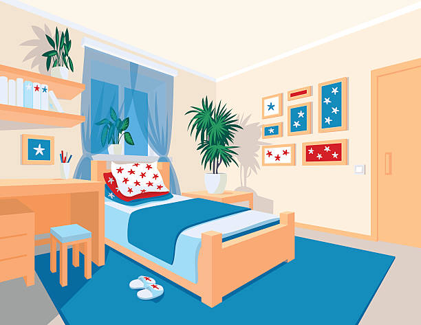 Colorful Interior Of Bedroom In Flat Cartoon Style Vektorgrafik
