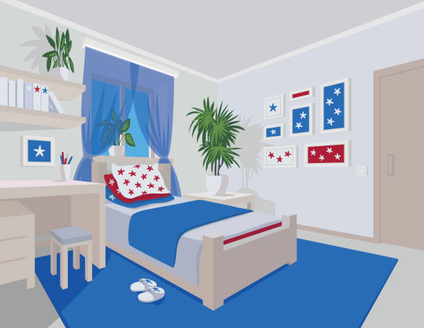 Colorful interior of bedroom in flat cartoon style. Colorful interior of bedroom in flat cartoon style. Vector illustration of teen bedroom with window, desk, bed, star arts in frames and houseplants. Scene for your artworks, illustrations and design. bedroom borders stock illustrations