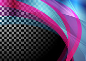 Colorful iridescent transparent waves on checkered background. Vector abstract design