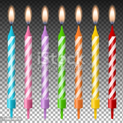 colorful isolated birthday candles