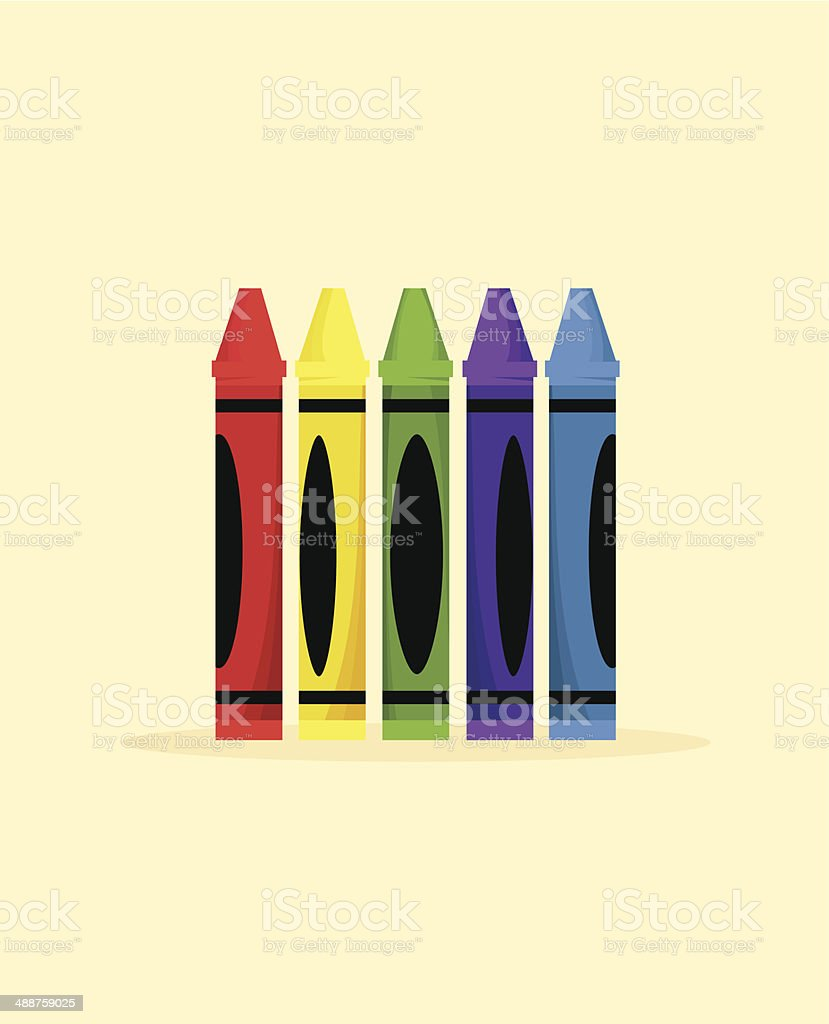 Colorful Isolated Crayons vector art illustration