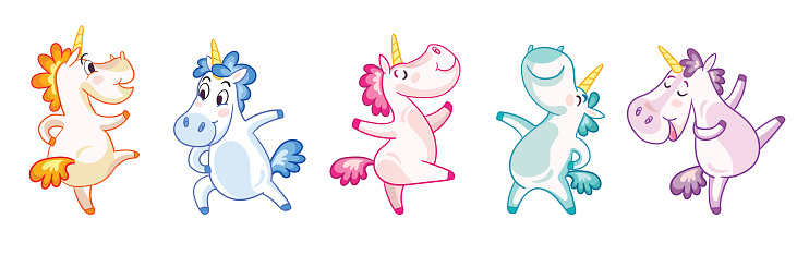 Colorful isolated illustration cute and happy dancing unicorns vector set