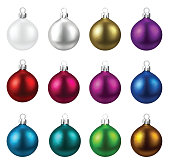 Set of colorful isolated round Christmas balls. Vector illustration template.