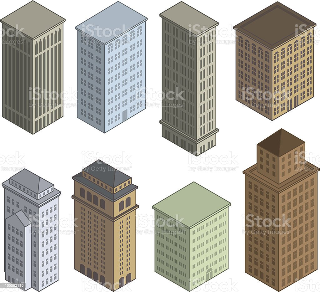 Colorful Isometric Buildings royalty-free colorful isometric buildings stock vector art & more images of architectural feature