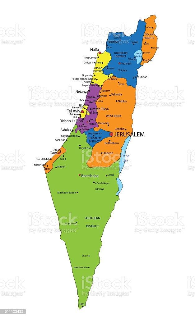 Cartina Politica Israele.Mappa Politica Colorato Con Israele Etichettando Strati Immagini Vettoriali Stock E Altre Immagini Di Alture Del Golan Istock