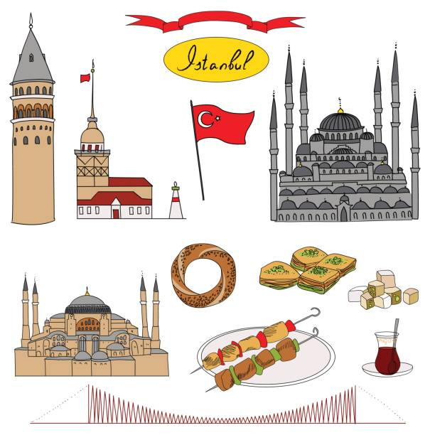 Colorful Istanbul tourist isolated object vector set vector art illustration