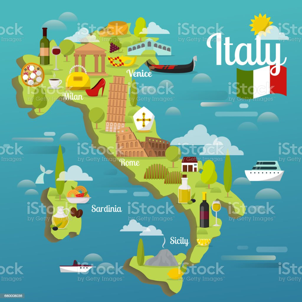 Colorful Italy Travel Map With Attraction Symbols Italian - Italian map