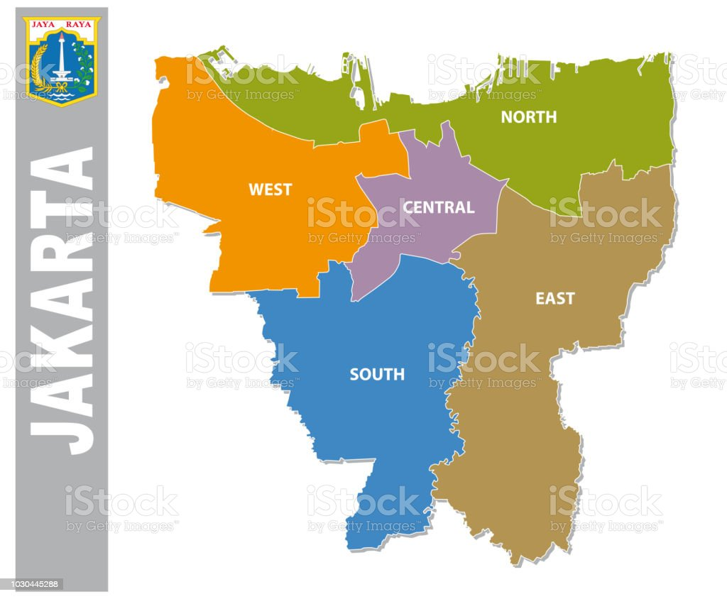 Map Jakarta.Colorful Jakarta Administrative And Political Map With Coat Of Arms