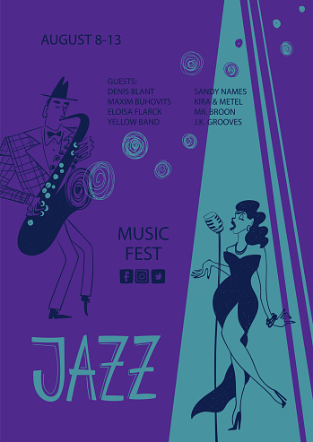 Colorful jazz poster with singer and saxophone player
