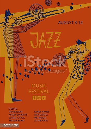 istock Colorful jazz poster with trumpet and trombone players 1302311755