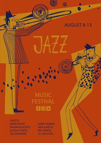 Colorful jazz poster with trumpet and trombone players