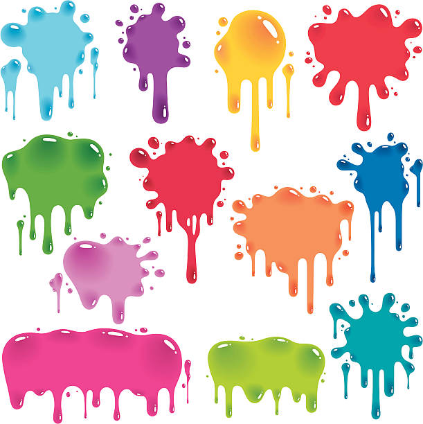 Colorful jelly splatters Vector illustration of 12 colorful splats flowing down.  The splats are on a white background, which gives the impression of being vertical due to the direction of flow.  Each splat is a different vibrant color in a shade of blue, green, orange, red or purple.  The splats have darker areas that imply greater thickness of material, and white highlights that indicate light reflection, making them appear to be shiny.  The splats are different sizes and shapes; some are round with splatter encircling the main body, while some are wider with smoother tops. jello stock illustrations
