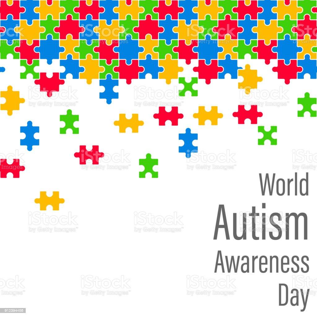 Quebra-cabeça colorido gota dia mundial da conscientização autismo - ilustração de arte em vetor