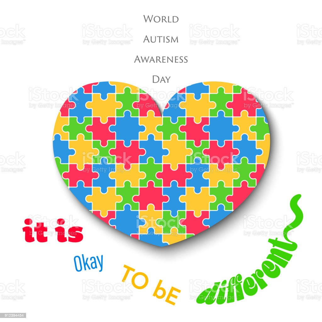 Colorful Jigsaw Heart on White Background Autism Day векторная иллюстрация