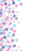 Colorful Jigsaw puzzle pieces background.