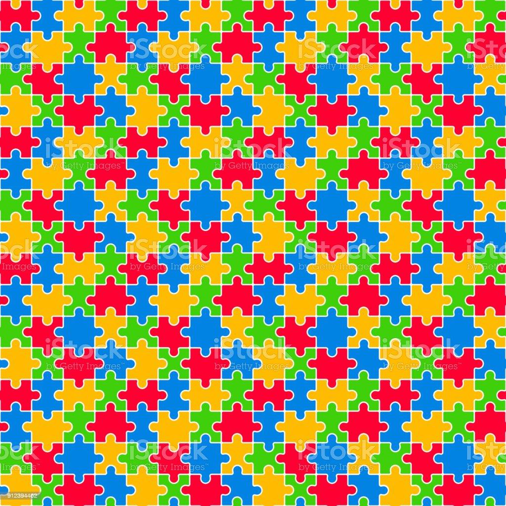Quebra-cabeça colorido padrão sem emenda - ilustração de arte em vetor