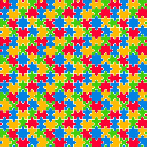 Colorful Jigsaw Seamless Pattern vector art illustration