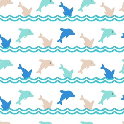 Colorful Jumping Dolphins Family Cute Vector Cartoon Seamless Pattern