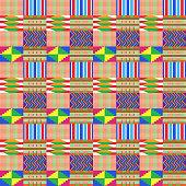 Colorful Kente Cloth Seamless Pattern