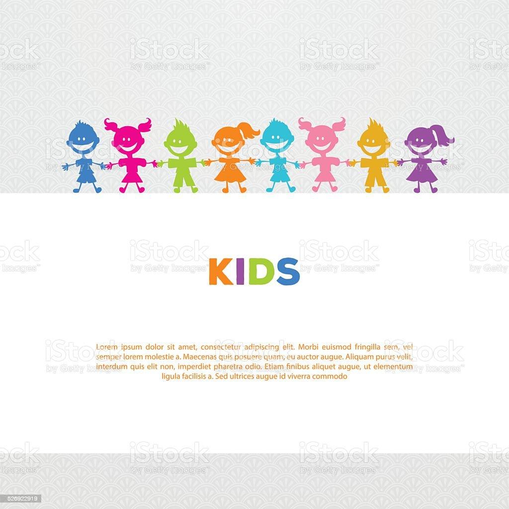 Colorful kids friends image vector art illustration